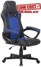 Silla Gaming Silla estudio gamer Oficina Giratoria Ajustable Polipiel negro azul