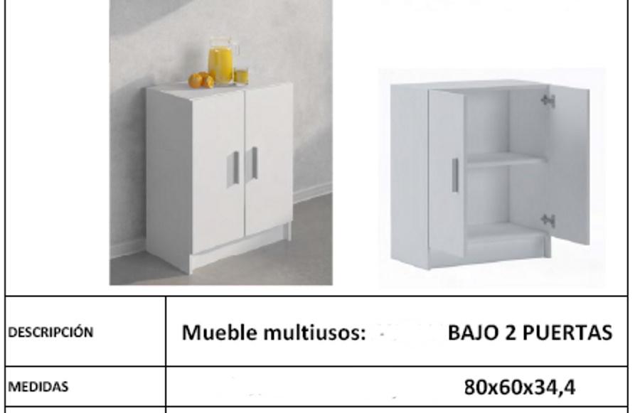 BAJO 2 PUERTAS MULTIUSOS Mueble auxiliar armario bajo 2 puertas blanco