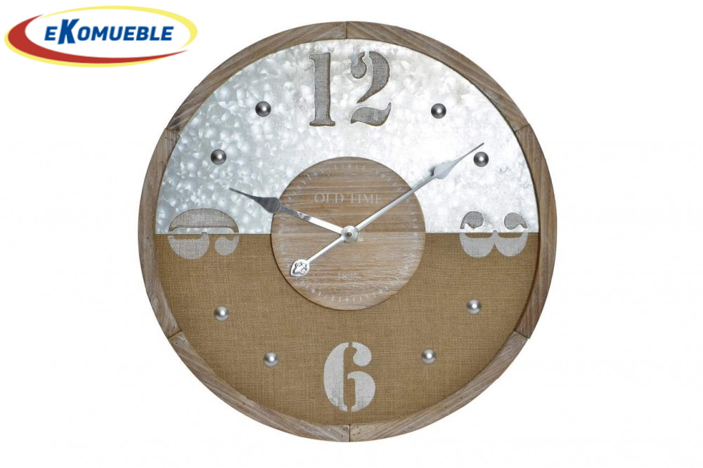 Reloj pared madera mdf  y metalico  60 CM de diametro