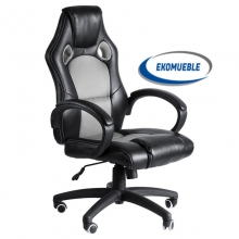 Silla Gaming Sillon de Despacho Oficina Estudio Giratoria Ajustable Polipiel  negro gris.