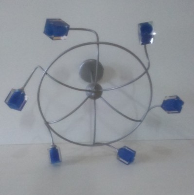 lampara 6 luces gris azul